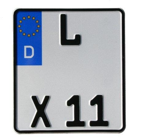Motorrad-Kennzeichen EU 180 x 200 mm, reflektierend, Motorradschilder mit Wunschkennzeichen, KFZ-Kennzeichen