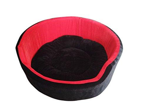 Hiputee Super Soft Dual (Black-Red) Colour Round Dog/Cat Velvet Bed - Medium