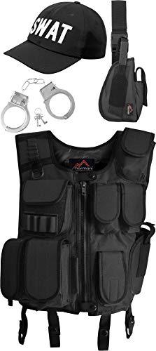 normani SWAT Kostüm bestehend aus Weste, Pistolenholster, Cap und Handschellen Farbe Black Größe M