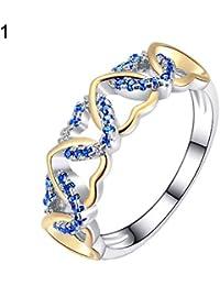 Yxczhis Anillos para Mujeres, Hombres Dama romántico Amor Corazones Diamantes de imitación incrustados joyería Boda