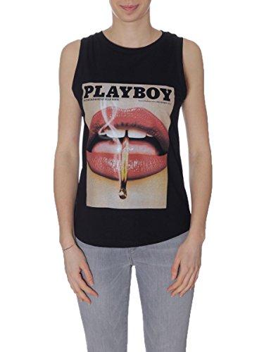 Playboy Damen Top Tank Print Mouth Nero