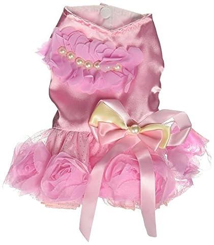 Smalllee _ Lucky _ Ranger Pet Petit Chien Puppy Cat Vêtements Manteau Costume de mariage Rose satiné formelle Robe tutu rose XS