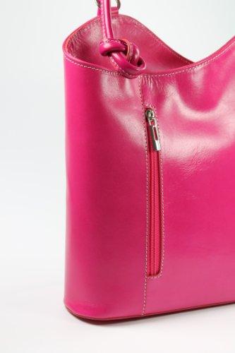 BELLI ital. Leder Handtasche Belli Backpack Damen Rucksack Leder - Farbauswahl - aus feinstem Leder - 28x28x8 cm (B x H x T) Pink