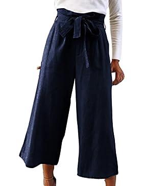 Yying Palazzo Pants De Mujer Color Sólido con Cintura Elástica Plisada Y Pantalones Sueltos Ocasionales