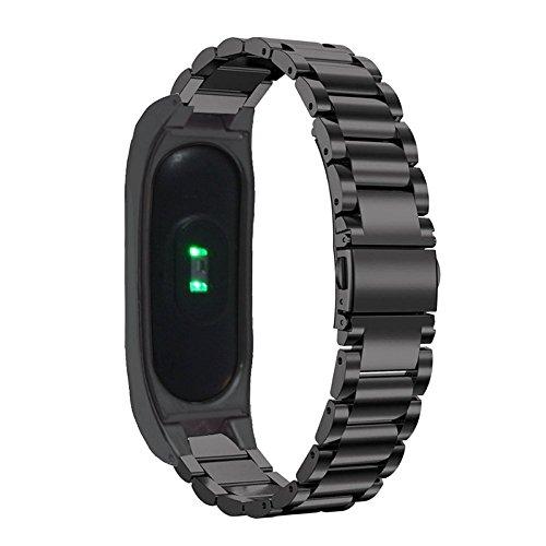 XIHAMA per Xiaomi Miband2 Strap, Miband 2 cinturino dell'orologio astuto di ricambio in acciaio inossidabile cinturino per Xiaomi Miband 2 (nero)