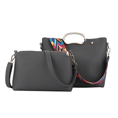 Semplice nastro colorato Limitazione del sacchetto di cuoio della spalla donne 2 pezzi Rosso Grigio
