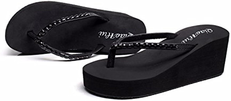 XIAOGEGE High Heel mit Hausschuhe Mädchen-Hausschuhe Hausschuhe Hausschuhe Bohrer dicker Boden Flip Flops.