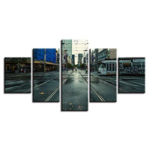 Yhnmlp Wand Kunst Malerei HD Poster Hause Dekoration Gedruckt 5 Panel Stadt Gebäude Landschaft Wohnzimmer Modulare Leinwand Bilder Gerahmte,30x40 30x60 30x80cm