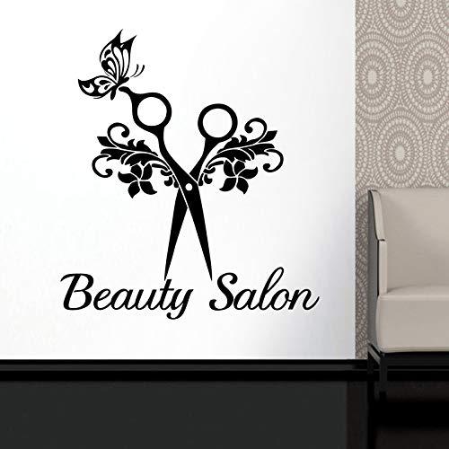 fenshop Papillon Ciseaux Cheveux Beauté Salon Autocollant Decal Neutre Coupe De Cheveux Affiche Vinyle Mur Art Stickers Décor Windows Décorati 58x65 cm Applique Coupe