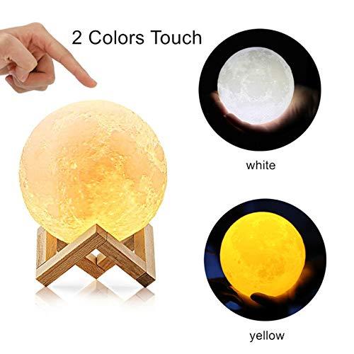 Mondlicht 3D Print Moon Globe Lampe, 3D Glowing Moon Lampe Mit Ständer, Luna Moon Lampe Nachtlicht Für Zuhause Schlafzimmer Dekor Kinder A-2 Farben DIY-10CM -