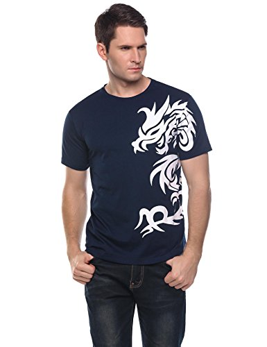 Herren T-Shirt Kurzarmshirt Top Dragon Print Shirt Casual Basic O-Neck A-Marine