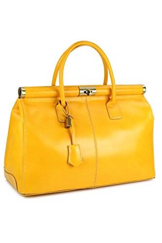 "Belli® ""The Bag XXL italiana. Premium Borsa in pelle borsa –�?8 x 26 x 18 cm (B x H x T) Gelb"