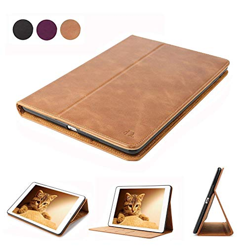 D DINGRICH Hülle Kompatibel mit ipad 2- ipad 3- ipad 4- Echt Leder- Smart case- Magnetischen Schlaf/Wach- Stütze Funktion- Brieftasche- ipad case(Braun)... (Case Ipad Leder 3)