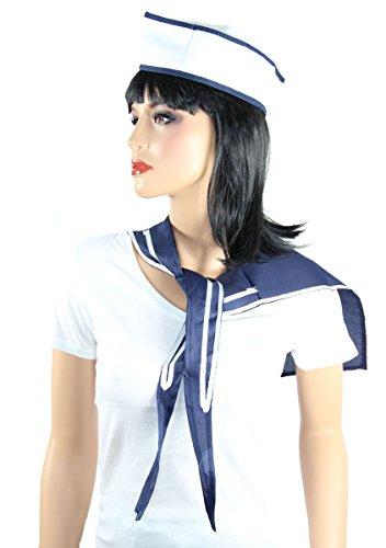 Foxxeo Matrosen Kostüm Set für Damen und Herren - Seemann Sparset - Matrosen-Mütze und Halstuch