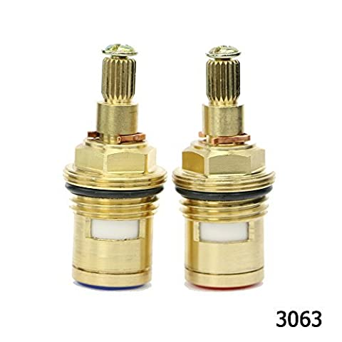 Kitchen Bathroom Basin Sink Hot and Cold Tap/Faucet Replacement Quarter Turn Ceramic Disc Brass Cartridge Valve fit G 1/2 BSP 20 Teeth Spline hq3063 Clockwise&Anti-clockwise Open Pair by Sinjo