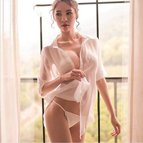 Womens Klassischen Anzug (ASDF Spice Unterwäsche Chiffon perspektive Boyfriend Shirt sexy Rock einstellbar Kurze Ärmel leidenschaftliche Anzüge Frau)