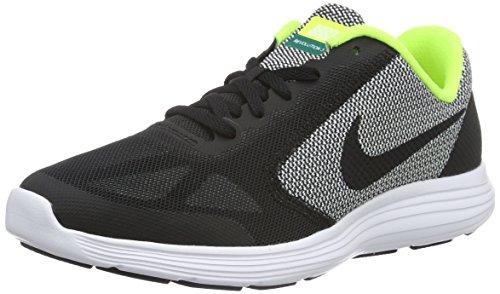 Nike (Nikmm) Revolution 3 (Gs), Chaussures de Fitness Mixte Enfant Noir - Schwarz (Schwarz/Schwarz/Weiß-Gelb)