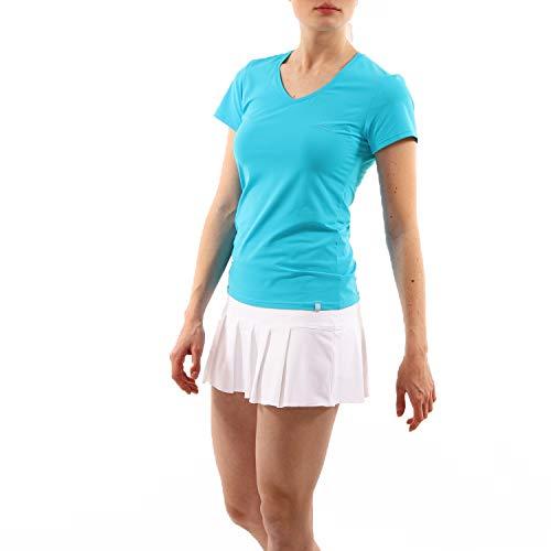 Sportkind Mädchen & Damen Tennis, Fitness, Sport T-Shirt V-Ausschnitt, türkis - neu, Gr. S