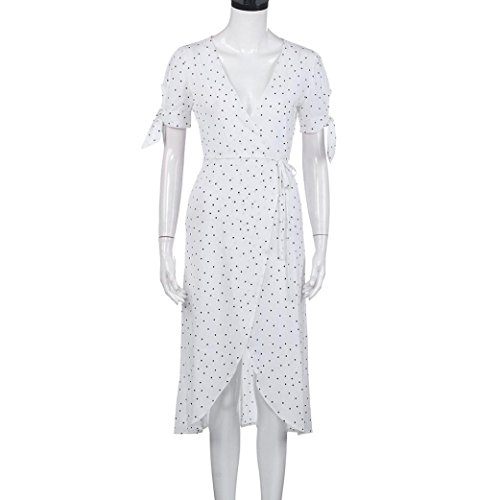 ... FEITONG Frauen V-Ausschnitt Boho Maxi Polka Dot Abend Kleid Weiß ...