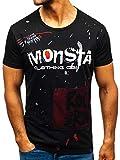 BOLF T-shirt - Stampa - Scollo rotondo - Stile quotidiano - Cotone - Aderente - Da uomo J.STYLE KS1834 Nera M [3C3]
