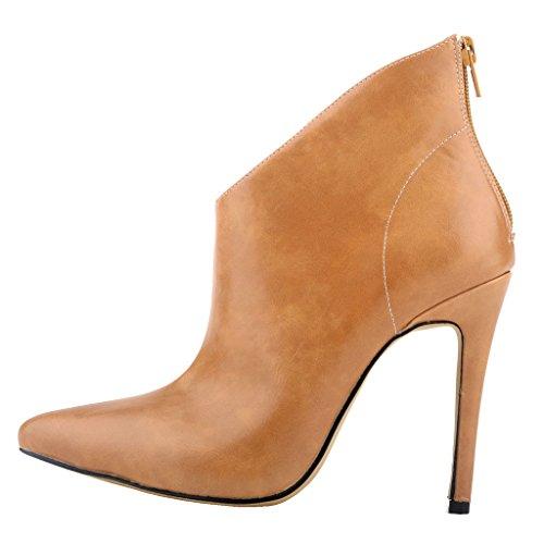 EKS Damen Spitze Stilett Reißverschluss Kurze Stiefel Kamel-Matt