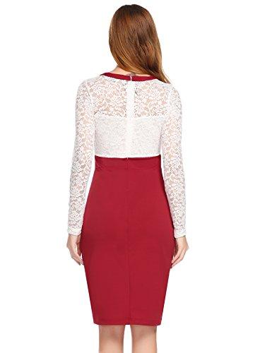 Damen Elegant Spitzen Kleid mit langen Ärmeln Heine Cocktailkleid mit Spitze Figurbetontes Etuikleid Knielang Festlich Hochzeit Partykleid Rot