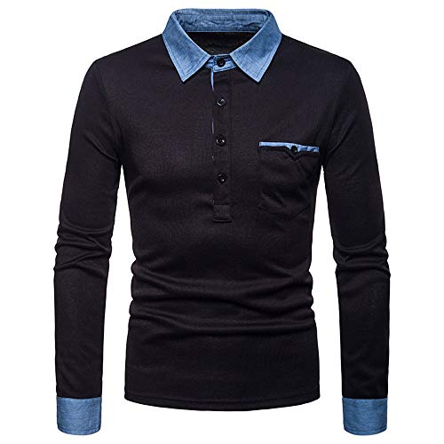 Oliviavan,Männer Herbst Winter Reine Farbe Druck Top Männer langärmelige T-Shirt Bluse Business...