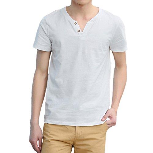 3-knopf-v-neck (Herren Jungen Freizeit T-Shirt V-Neck Basic V-Ausschnitt Shirt mit Knopf einfarbig,weiß,50,EU L)