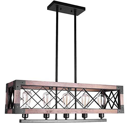 DGHDFH Vintage Holz Kronleuchter Industrie Loft Holz Anhänger 5-Lights Kreative Kronleuchter Deckenleuchte ● -