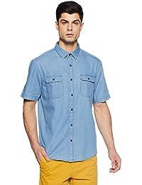 Marks & Spencer Men's Plain Regular Fit Casual Shirt