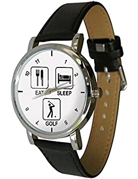 EAT SLEEP GOLF Design Armbanduhr. Tolles Golf Geschenk oder für einen selbst
