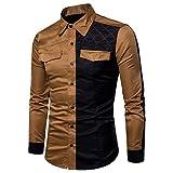 UJUNAOR Herren Langarm Oxford Formelle beiläufige Anzüge Slim Fit T-Shirt Hemden Patchwork Taschen Bluse Top(L,Khaki)