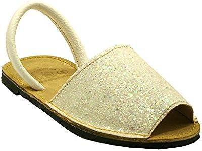 15090G - Sandalia ibicenca glitter blanco