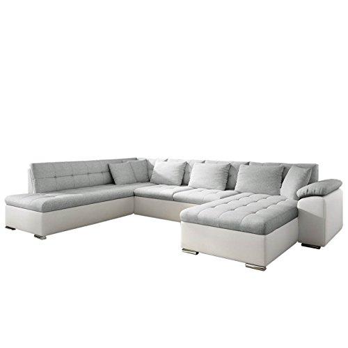 Mirjan24 Eckcouch Ecksofa Niko! Design Sofa Couch! mit Schlaffunktion! U-Sofa Große Farbauswahl! Wohnlandschaft! (Ecksofa Rechts, Soft 017 + Bahama 31)