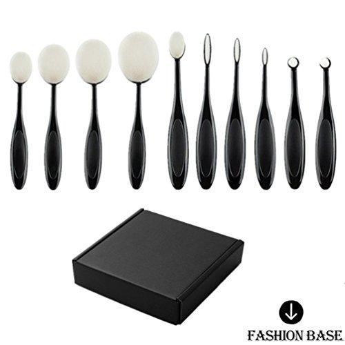 Fashion Base® 2016 Crazy Hot Professional 10 pcs/Ensemble de brosse à dents Forme ovale Lot de brosse de maquillage professionnel Fond de teint poudre Brosse Kits Box Set