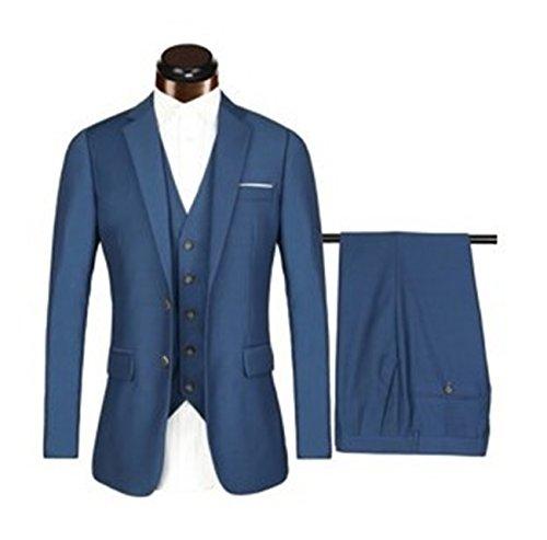 Herren Modern Fit Business Casual 3-Stück-Anzug Blazer Jacke Tux Weste & Hose(Blau,M)