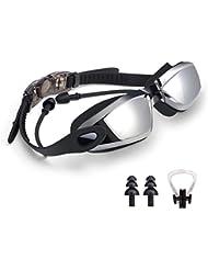 Gafas de natación, gafas de natación Cobiz con tapones para los oídos, Clip de nariz y funda protectora, lente antiniebla cómodo para mujeres, hombres adultos, jóvenes y niños.
