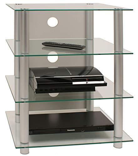 VCM 14110 Hifi Möbel Rack Phono Turm Medienrack Medienmöbel Regal Tisch Alu Glas Aluminium / Klarglas