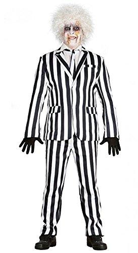 Beetlejuice Herren-Kostüm schwarz-weiß gestreifter Anzug Jacket Geist Poltergeist Exorzist Halloween , Größe:M
