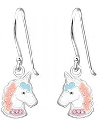 072de041d993 Pendientes de plata de ley 925 con diseño de unicornio brillante