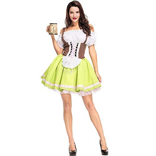 Vampir Kostüm Traditionellen Nicht - CJJC Grasgrünes Oktoberfest-Bierkostüm, Nationale traditionelle Karnevals-Kurze Kleider der Frauen ideal für Leistungsfestival-Partei-Gebrauch M