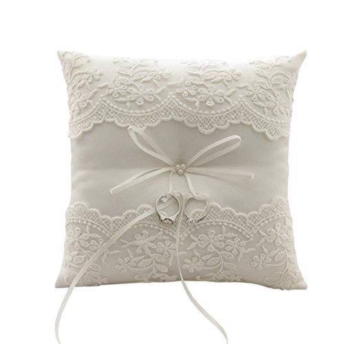Ocamo 21cm, ivory Lace Pearl Strand Hochzeit Ring Kissen der Souvenirs