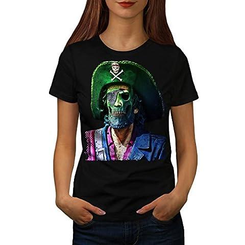 Pirate Skull Metal Funny Women M T-shirt | Wellcoda