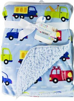 First Steps Soft Colourful Printed Design Sherpa Lined Baby Blanket - Cars Blue
