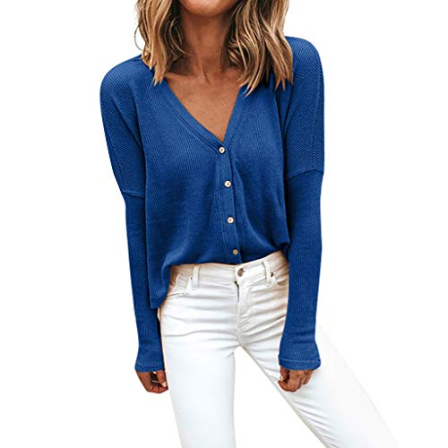 Lazzboy Damen Winter Solid Color V-Ausschnitt Langarm Lose Strickjacke Top Bluse Shirt Hemdbluse Casual Hemd Tops Frauen Oberteile T-Shirt(Blau,XL)