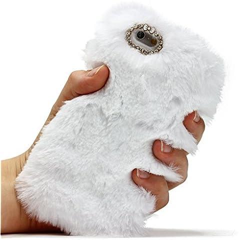 URCOVER® Fashion Case Cover Morbida | Custodia iPhone 6 / 6s | Guscio Silicone TPU e Peluche in Bianco | Protettiva Glamour Chic Moda Donna Pelliccia Trend Elegante Fell