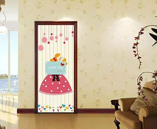 DNFurniture 3D Tür Aufkleber Mädchen, das Karten hält 95X215CM Applique Hause PVC Geschenk Dekoration wandbild Kunst DIY wandaufkleber tapete selbstklebend dreidimensional (Karte Die Halloween-sätze Für)