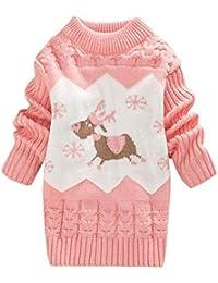 DEBAIJIA Baby Sweater Dress Niños Niña Christmas Jumper Invierno Jersey de Punto Grueso Cuello Redondo Cálido Transpirable Suave Moda Caricatura Patrón Amigable con La Piel Adecuado para 1-3 Años