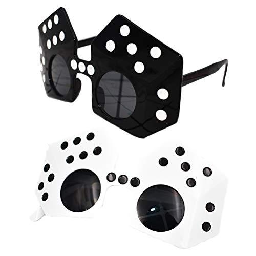 PRETYZOOM 2 stücke Lustige Gläser Party Würfelform Sonnenbrille Kostüm Cosplay Neuheit Brillen für Las Vegas Casino Party Favors (Schwarz Weiß)