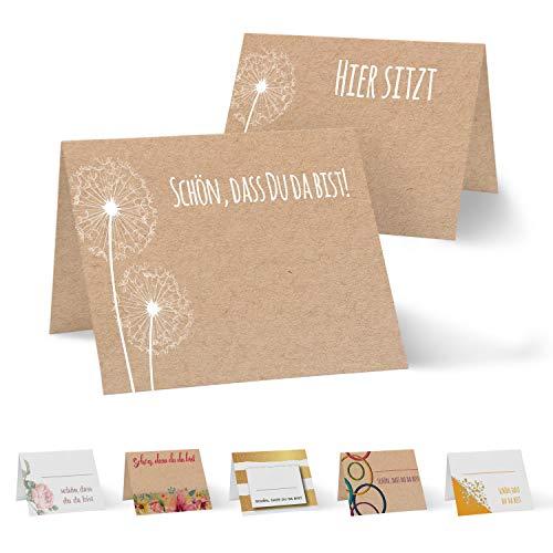 Partycards 50 Tischkarten/Platzkarten DIN A7 für Hochzeit, Geburtstag, Kommunion, Taufe (Kraftpapier und Pusteblume)